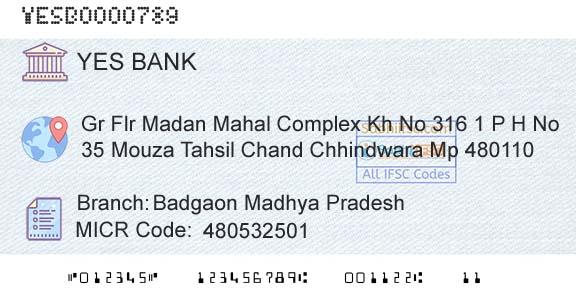 Yes Bank Badgaon Madhya Pradesh IFSC Code Chhindwara